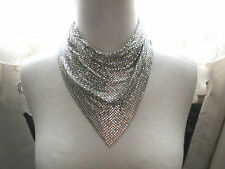 Vintage Whiting & Davis? Silver Plated Mesh Bib Necklace Metallic Circa 70s Snap