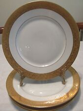 4 Antique HUTSCHENREUTHER Gold Encrusted Band DINNER PLATES Ovington Bros NYC