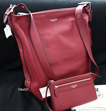 NWT COACH LEGACY Leather LARGE Duffle Bucket RED CHERRY CROSSBODY Bag+Wallet NEW