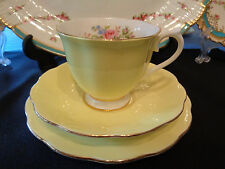 Royal Albert Trio - Moss Rose Decoration On Pale Yellow - Great Condition