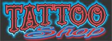 3'x8' TATTOO SHOP BANNER LARGE Outdoor Sign Neon Look Tattoos Piercings Ink Nice