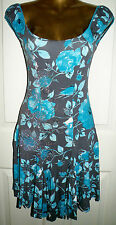 PRETTY GREY AQUA FLORAL SILVER GYPSY MINI DRESS SIZE 10 BY JANE NORMAN