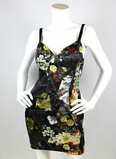 Just Cavalli Sz M Dress Silk Satin Stretch Bustier Graphic Floral Print Fitted