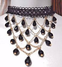 BLACK & GOLD FISHNET BIB CHOKER lace chain beaded gothic necklace new N3