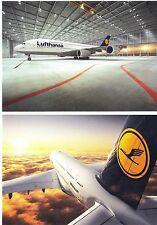 Two New Lufthansa Airbus postcards A380 in the hangar 2012 and in the sky 2010
