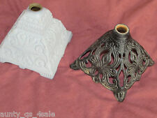 2 antique ornate cast iron oil lamp stands