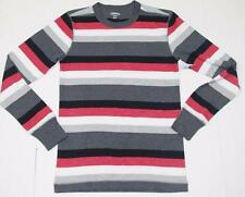 Mens Thermal Shirt Small Red White Gray Striped Long Sleeve NWT