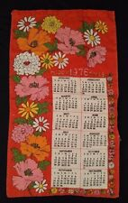 1976 Kitchen Calendar Tea Towel Red Pink Yellow White Flowers Happy Times Vtg
