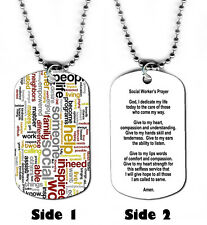 DOG TAG NECKLACE - Social Worker Prayer Helping Behavioral God Jesus