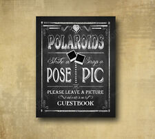 Wedding Polaroid Guestbook Alternative Sign - Chalkboard Looking 5x7 Print