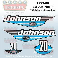 1999-00 Johnson 70 HP 3 Cyl Olympic Blue Outboard Reproduction 4Pc Vinyl Decal