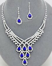 Royal Blue Crystal Rhinestone Formal Necklace Jewelry Set Earring Bridal Elegant