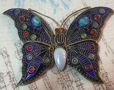 1992 Metropolitan Museum of Art Large Sterling Silver Blue Enamel Butterfly Pin