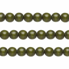 Wood Round Beads Dark Forest Green 8mm 16 Inch Strand