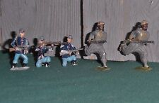 Britains Ltd, 3 Civi War Soldiers, 2 Indian or Arab Soldiers, Lead, Very Old,