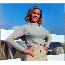 Honor Blackman Looking Great by Horses with Hands on Hips 8 x 10 Inch Photo