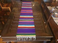 """Satillo or Serape Style Acrylic Mexican Long Table Runner 14"""" by 72"""" Purple"""