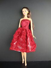 Deep Red Knee Length Dress Covered in Roses It so Cute For Barbie