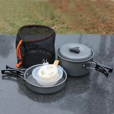 Outdoor Camping Cookware Set Cooking Picnic Bowl Pot Pan Soup Spoon Kit