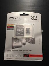 PNY Professional 32GB High Speed MicroSDHC Card Class10 with Adapter  Brand New