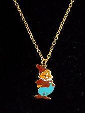 Walt Disney Productions Snow White's Doc Dwarf Enamel Pendant/Chain - Excellent