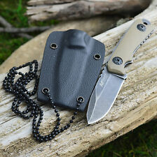 "MTech 4 3/4"" Stonewash Finish Tan G-10 Handle Tactical Neck Knife 2030"