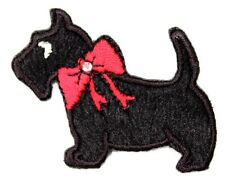 Scottish Black Scottie Dog Bow Embroidered Sew-on Cloth Badge Patch Appliqué