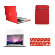 "4in1 Rubberized RED Case for Macbook PRO 13"" + Keyboard Cover + LCD Screen + Bag"