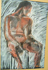 """""""TWONUDES FOR ONE PRICE""""  Ruth Freeman PASTEL /BLACK PAPER 15 1/4"""" X 22"""""""