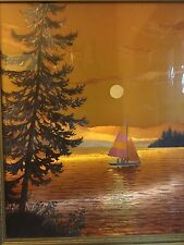 Beautiful Shiny Print of a Boat on a Golden Evening Lake