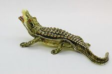 Bejeweled Alloy Enamel Alligator Trinket Box with Rhinestones