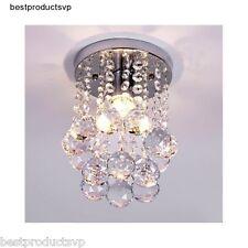 Flush Mount Ceiling Light Fixture Modern Chandelier Mini Crystal Interior Chrome
