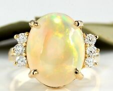 6.10Ct Natural Ethiopian Opal and Diamond 14K Solid Yellow Gold Ring