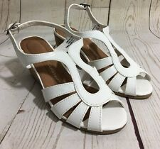 Airstep MISTY White Cork Wedge Heel Sandals Shoes Strappy Slingback Size 6 1/2 W