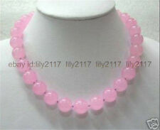 """beautifulNEW 8mm Pink Chalcedony Round Beads Gemstones Necklace 18"""" AAA"""