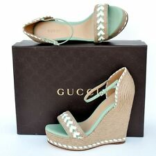GUCCI New sz 36.5 - 6.5 Platform Wedge Heels Womens Sandals Shoes Espadrille