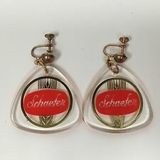 Vintage NOS SCHAEFER Beer Clip On Earrings Hipster Party Jewelry in Bag RARE