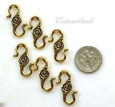 TierraCast S Hook Clasps, Spiral S Hooks, Gold Plate Pewter, 6 Pieces, 3326