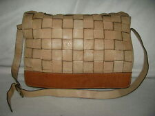 Nordstrom Made in Italy Soft Braided Beige Leather Briefcase Tote Shoulder Bag