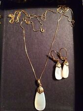 Mother Of Pearl Pendant Necklace And Earrings 14k Gold