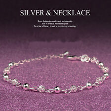 Women Sterling Silver Plated Crystal Chain Bangle Cuff Charm Bracelet Jewelry