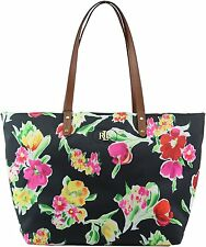 RALPH LAUREN Handbag---Bainbridge Black/Floral Nylon Tote Zip Top NEW $128.00