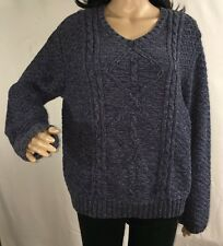 Cabela's Women's Sweater Marled Blue V-Neck Thick Cable Knit Winter Top - Large