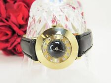 Vintage Le Coultre ladies watch 14 k yellow gold w/ diamonds w/ leather band