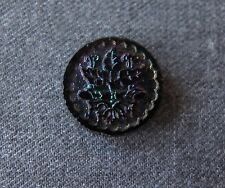 ANTIQUE VICTORIAN IRIDESCENT BLACK GLASS  FLOWERS & LEAVES BUTTON   #5