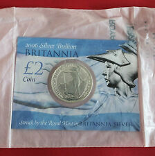 2006 £2 SILVER BRITANNIA ON ROYAL MINT PRESENTATION CARD - still mint sealed