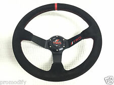 TRD 350mm Suede Leather Deep Dish Steering Wheel OMP MOMO Drifting Racing RED