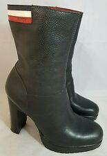 """Tommy Hilfiger Size 7.5 Black Leather Striped Logo Platform 4"""" High Heel Boots"""