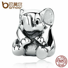 Bamoer Shining Authentic 925 Sterling Silver Animal Charm Lucky Elephant jewelry