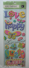 ~BUTTERFLIES~ Adhesive Chipboard Stickers K & Company CO girls butterfly flowers